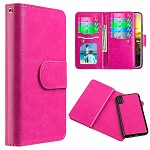 (D01) IPHONE X/XS TIMBERLAND DOUBLE FLOP LEATHER WALLET WITH MAGNETIC PHONE HOLDER - HOT PINK (BUY 5 GET 3 FREE)