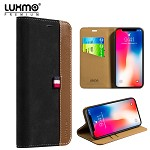 (D01) IPHONE X/XS LUXMO PREMIUM THE YACHT COLLECTION GENUINE REAL LEATHER FLIP WALLET CASE - BLACK (BUY 5 GET 3 FREE)