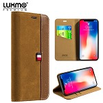 (D01) IPHONE X/XS LUXMO PREMIUM THE YACHT COLLECTION GENUINE REAL LEATHER FLIP WALLET CASE - BROWN (BUY 5 GET 3 FREE)