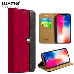 (D01) IPHONE X/XS LUXMO PREMIUM THE YACHT COLLECTION GENUINE REAL LEATHER FLIP WALLET CASE - RED (BUY 5 GET 3 FREE)