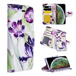(D01) IPHONE XS MAX THE DETACHABLE TRNDY LEATHER FLIP WALLET CASE WITH ID WINDOW CARD SLOTS - PURPLE TULIP
