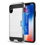 (D01) IPHONE XS MAX CARD TO GO HYBRID CASE WITH BLACK TPU AND SILK BACK PLATE - SILVER