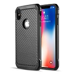 (D01) IPHONE XS MAX THE TOUGH HYBRID CASE BLACK TPU + BLACK PC WITH CARBON FIBER FINISH