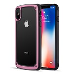 (D01) IPHONE XS MAX ZERODAMGE DUAL PROTECTIVE HYBRID CASE WITH 2 TONE FRAME AND TEMPERED GLASS BACK PLATE - PINK