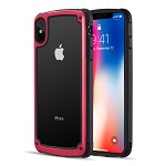 (D01) IPHONE XS MAX ZERODAMGE DUAL PROTECTIVE HYBRID CASE WITH 2 TONE FRAME AND TEMPERED GLASS BACK PLATE - RED