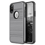 (D01) IPHONE X/XS CARBON TECH SILK HYBRID PC + TPU COVER CASE - GREY (BUY 5 GET 3 FREE)