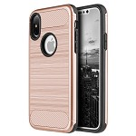 (D01) IPHONE X/XS CARBON TECH SILK HYBRID PC + TPU COVER CASE - ROSE GOLD (BUY 5 GET 3 FREE)