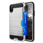 (D01) IPHONE X/XS HYBRID CARD TO GO CASE BLACK TPU W/ SILK BACK PLATE - SILVER (BUY 5 GET 3 FREE)