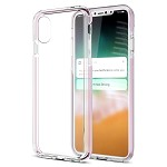 (D01) IPHONE X/XS INVISIBLE BUMPER HYBIRD CASE ULTRA THIN AGUA CLEAR + PINK INNER FRAME (BUY 5 GET 3 FREE)