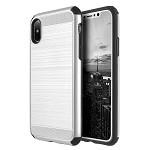 (D01) IPHONE X/XS THE SILKEE ARMOR ANTI SHOCK PC + TPU DUAL HYBRID CASE - SILVER (BUY 5 GET 3 FREE)