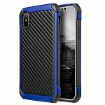 (D01) IPHONE X/XS THE TOUGH HYBRID CASE BLACK TPU + BLUE PC WITH CARBON FIBER FINISH (BUY 5 GET 3 FREE)