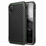 (D01) IPHONE X/XS THE TOUGH HYBRID CASE BLACK TPU + GREEN PC WITH CARBON FIBER FINISH (BUY 5 GET 3 FREE)