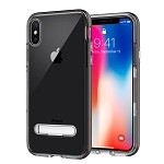 (D01) IPHONE X/XS SHOCK PROOF HYBRID TRANSPARANT TPU + PC FRAME WITH KICK STAND - GREY (BUY 5 GET 3 FREE)
