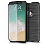 (D01) IPHONE X/XS THE CAPSULE FULL COVER HYBRID SILK TPU W/ PC FRAME AND TEMPERED GLASS SCREEN PROTECTOR - BLACK (BUY 5 GET 3 FREE)