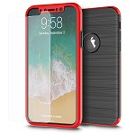 (D01) IPHONE X/XS THE CAPSULE FULL COVER HYBRID SILK TPU W/ PC FRAME AND TEMPERED GLASS SCREEN PROTECTOR - RED (BUY 5 GET 3 FREE)
