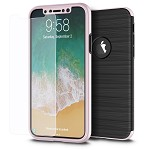 (D01) IPHONE X/XS THE CAPSULE FULL COVER HYBRID SILK TPU W/ PC FRAME AND TEMPERED GLASS SCREEN PROTECTOR - ROSE GOLD (BUY 5 GET 3 FREE)