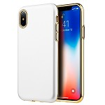 (D01) IPHONE X/XS SUBLIME DUAL HYBRID CASE W/ WHITE RUBBERIZED PC BACK PLATE + GOLD ELECTROPLATED TPU (BUY 5 GET 3 FREE)