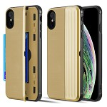(D01) IPHONE X/XS THE KARD DUAL HYBRID CASE WITH CARD SLOT AND MAGNETIC CLOSURE - GOLD (BUY 5 GET 3 FREE)