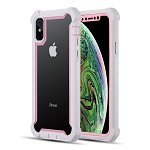 (D01) IPHONE X/XS THE VISPRO SERIES DUAL TONE TOUGH HYBRID PROTECTION CASE - PINK + WHITE (BUY 5 GET 3 FREE)