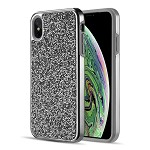 (D01) IPHONE XS MAX DIAMOND PLATINUM COLLECTION HYBRID BUMPER CASE WITH ELECTROPLATED FRAME - BLACK