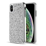 (D01) IPHONE XS MAX DIAMOND PLATINUM COLLECTION HYBRID BUMPER CASE WITH ELECTROPLATED FRAME - SILVER