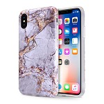 (D01) IPHONE X/XS MARBLE IMD SOFT TPU CASE - GREY / GOLD (BUY 5 GET 3 FREE)