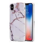 (D01) IPHONE X/XS MARBLE IMD SOFT TPU CASE - WHITE / GOLD (BUY 5 GET 3 FREE)