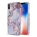 (D01) IPHONE XS MAX THE MARBLE SERIES IMD SOFT TPU CASE - GREY / GOLD