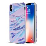 (D01) IPHONE XS MAX THE MARBLE SERIES IMD SOFT TPU CASE - PURPLE / PINK