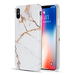 (D01) IPHONE XS MAX THE MARBLE SERIES IMD SOFT TPU CASE - WHITE / GOLD