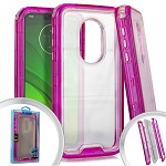 (E01) MOTO G7 PLAY 3-IN-1 TRANSPARENT CASE - HOT PINK (RETAIL PACKED)