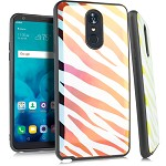 (E01) LG STYLO 4 / 4 PLUS IRIDESCENT CASE WITH METAL BACK FOR MAGNETIC HOLDER - ZEBRA