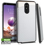 (E01) LG STYLO 4 / 4 PLUS BLADE CASE WITH METAL BACK FOR MAGNETIC HOLDER - CARBON FIBER SILVER