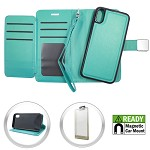 (E01) IPHONE X/XS DELUXE MAGNETIC WALLET - TEAL (RETAIL PACKED)