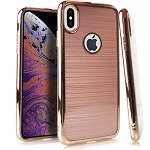 (E01) IPHONE X/XS CRYSTAL BRUSHED CHROME - ROSE GOLD