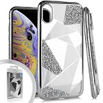 (E01) IPHONE X/XS SPARKLE GEO - SILVER (RETAIL PACKED)
