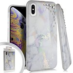 (E01) IPHONE X/XS SPARKLE IMAGE - MARBLE WHITE (RETAIL PACKED)