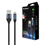 (E02) ESOULK EC42P 2.4A PREMIUM USB CABLE WITH EARPHONE PORT - LIGHTNING (6FT/1.8M) (GRAY) (RETAIL PACKED)