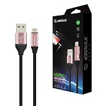 (E02) ESOULK EC42P 2.4A PREMIUM USB CABLE WITH EARPHONE PORT - LIGHTNING (6FT/1.8M) (ROSEGOLD) (RETAIL PACKED)