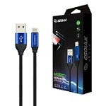 (E02) ESOULK EC42P 2.4A PREMIUM USB CABLE WITH EARPHONE PORT - LIGHTNING (6FT/1.8M) (BLUE) (RETAIL PACKED)