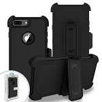 (2F) IPHONE 7 PLUS / 8 PLUS PREMIUM TRIPLE COMBO HOLSTER - BLACK (RETAIL PACKED)