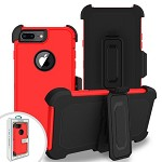 (2F) IPHONE 7 PLUS / 8 PLUS PREMIUM TRIPLE COMBO HOLSTER - RED (RETAIL PACKED)