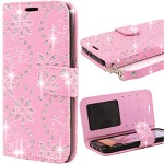 (2F) IPHONE 7 PLUS / 8 PLUS BUTTERFLY FLORAL BLING WALLET - LIGHT PINK