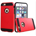 (2F) IPHONE 7 PLUS / 8 PLUS HYBRID TEXTURE BRUSHED METAL CASE - RED