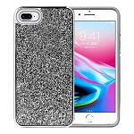 (1H) IPHONE 7 PLUS / 8 PLUS DELUXE GLITTER DIAMOND ELECTROPLATED PC TPU HYBRID - BLACK