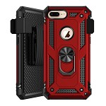 (1H) IPHONE 7 PLUS / 8 PLUS RING STAND COMBO HOLSTER - RED (RETAIL PACKED)