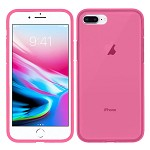 (1H) IPHONE 7 PLUS / 8 PLUS PREMIUM SHOCKPROOF CLEAR TPU 1.8MM THICK - HOT PINK