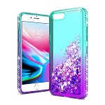 (1H) IPHONE 7 PLUS / 8 PLUS TWO TONE DIAMOND WATER QUICKSAND GLITTER - TEAL+PURPLE (RP)