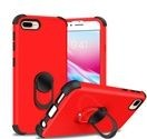 (1H) IPHONE 7 PLUS / 8 PLUS 360 DEGREE KING RING STAND HYBRID W/ RAISED EDGES - RED PC/BLACK