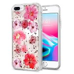 (1H) IPHONE 8 PLUS / 7 PLUS CREATIVE PRINTING DESIGN GLITTER HYBRID - PINK FLOWERS (RETAIL PACKED)